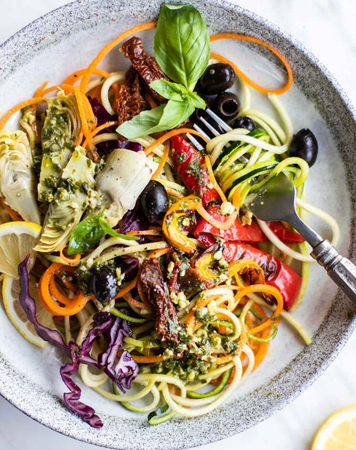 italian pesto zoodle salad recipe
