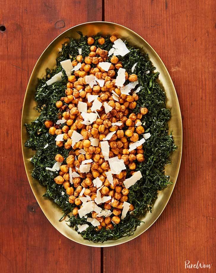 kale salad with crispy chickpeas recipe
