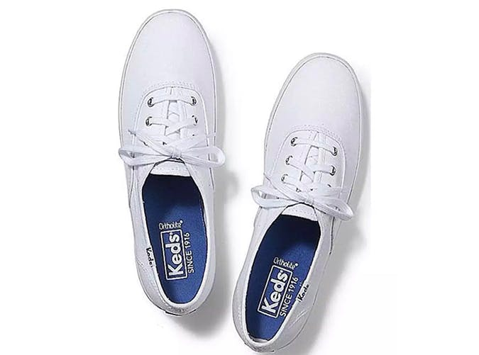 keds plain white lace up sneakers