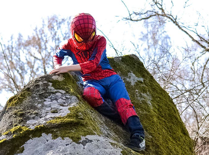 kid spiderman costume rock