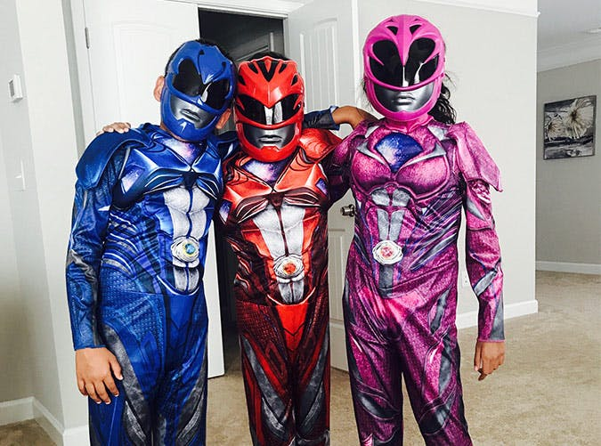kids dressed as power rangers