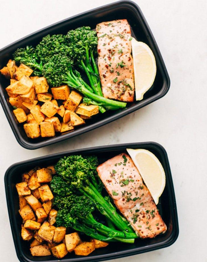 lemon roasted salmon sweet potatoes broccoli recipe