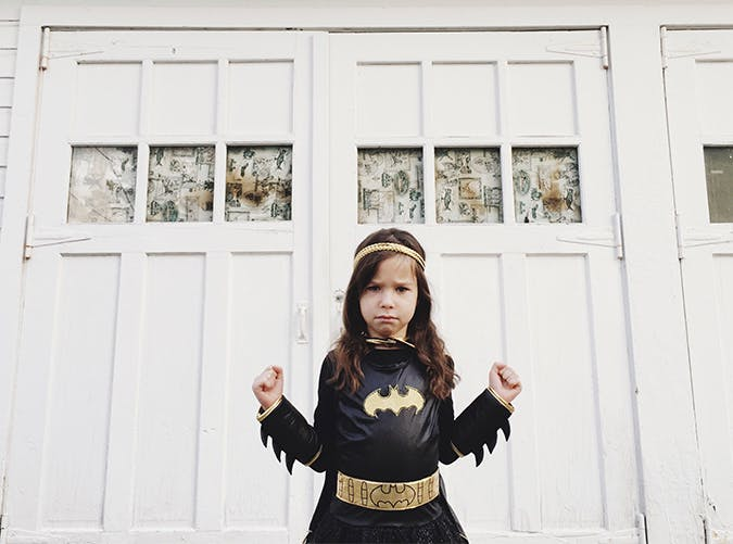little girl dressed as batgirl