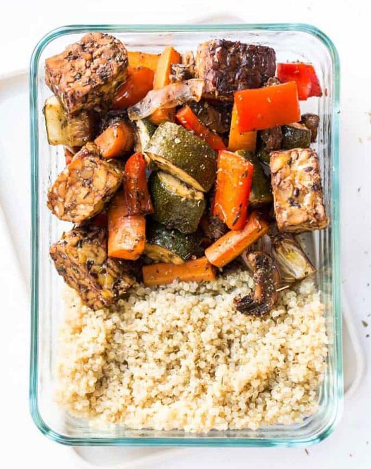 meal prep balsamic tempeh roasted vegetable quinoa recipe