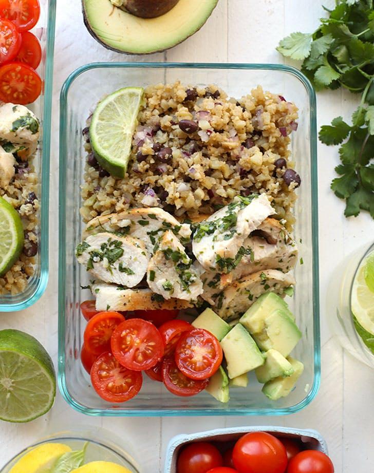 meal prep cilantro lime chicken cauliflower