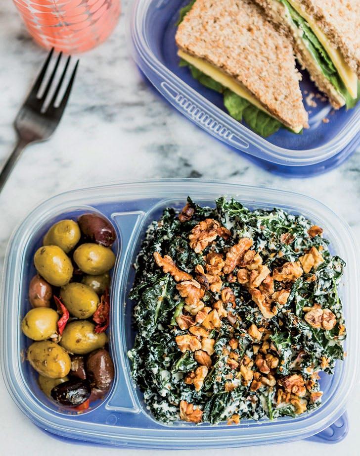 Meal-Prep Creamy Kale Caesar Salad
