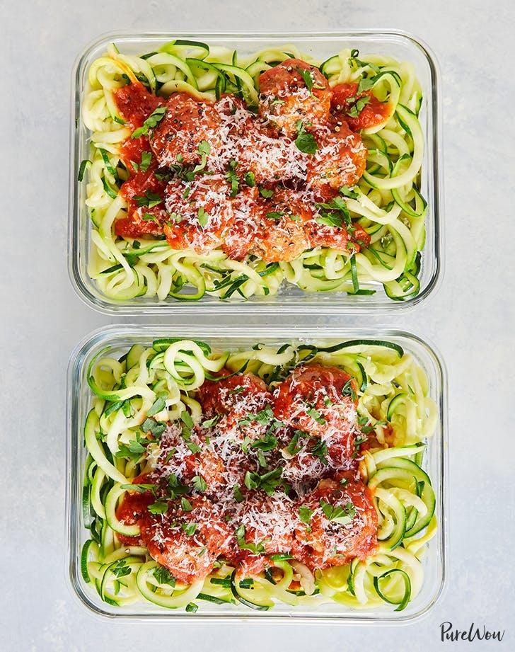 meal prep turkey meatballs zucchini noodles recipe hero2