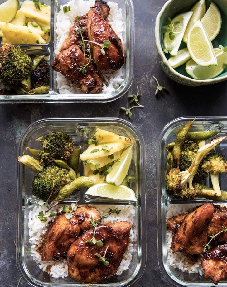 meal prep tropical jerk chicken and gingered broccoli recipe