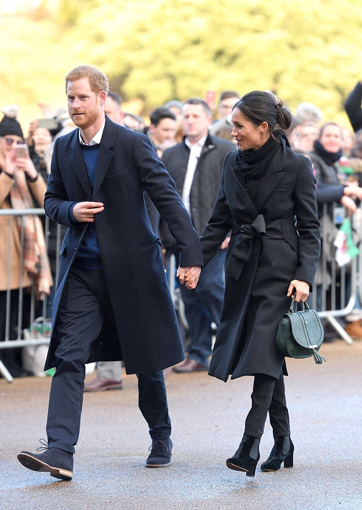 meghan markle wearing a demellier london handbag