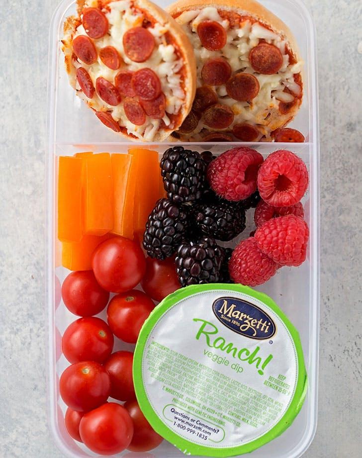 mini pizza bagel veggies dip recipe
