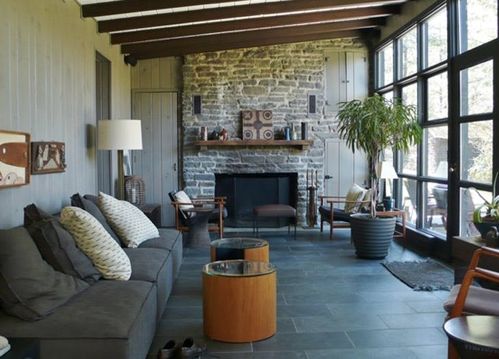 modernist cottage couch fireplace plant