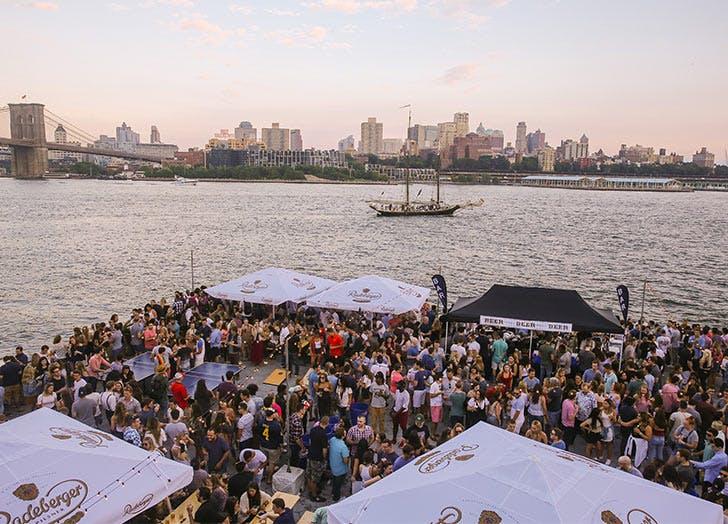 oktoberfest crowd water tent skyline