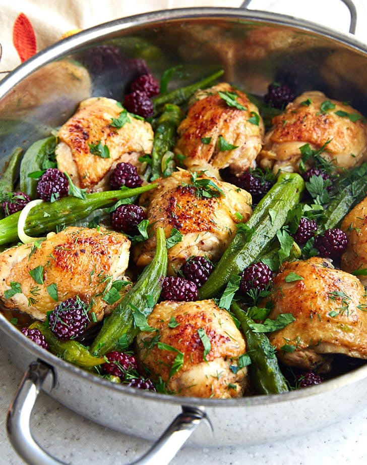 pan fried chicken thighs okra blackberries recipe