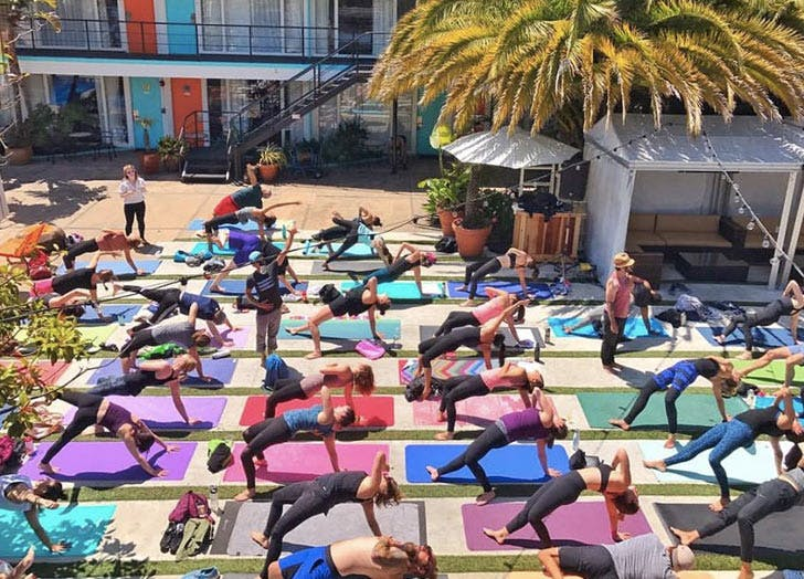 people doing yoga outside list