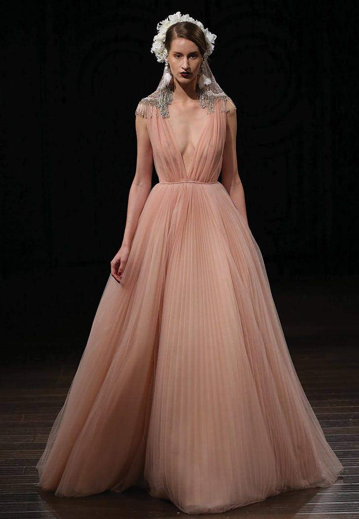 rose colored wedding gown naeem khan