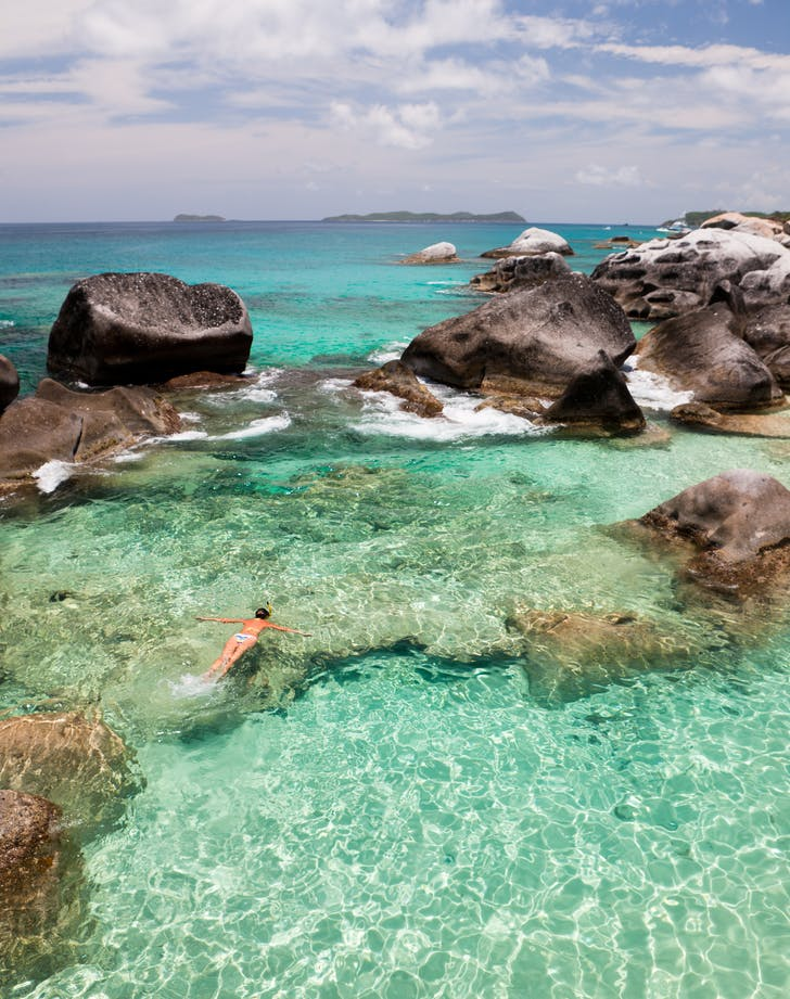 snorkeling at the Baths in the British Virgin Islands