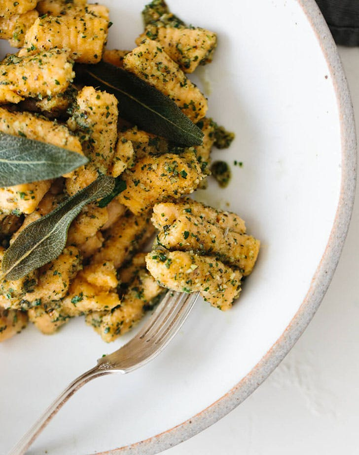 sweet potato gnocchi sage walnut pesto recipe