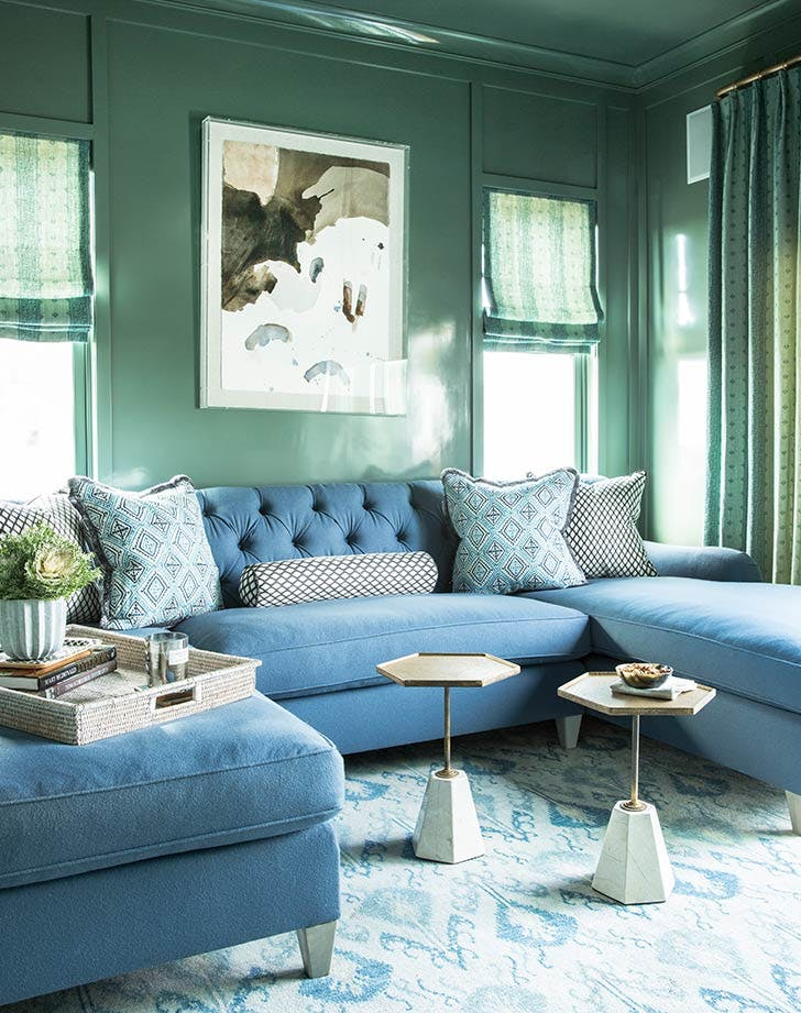 tharon blue living room couch pillows