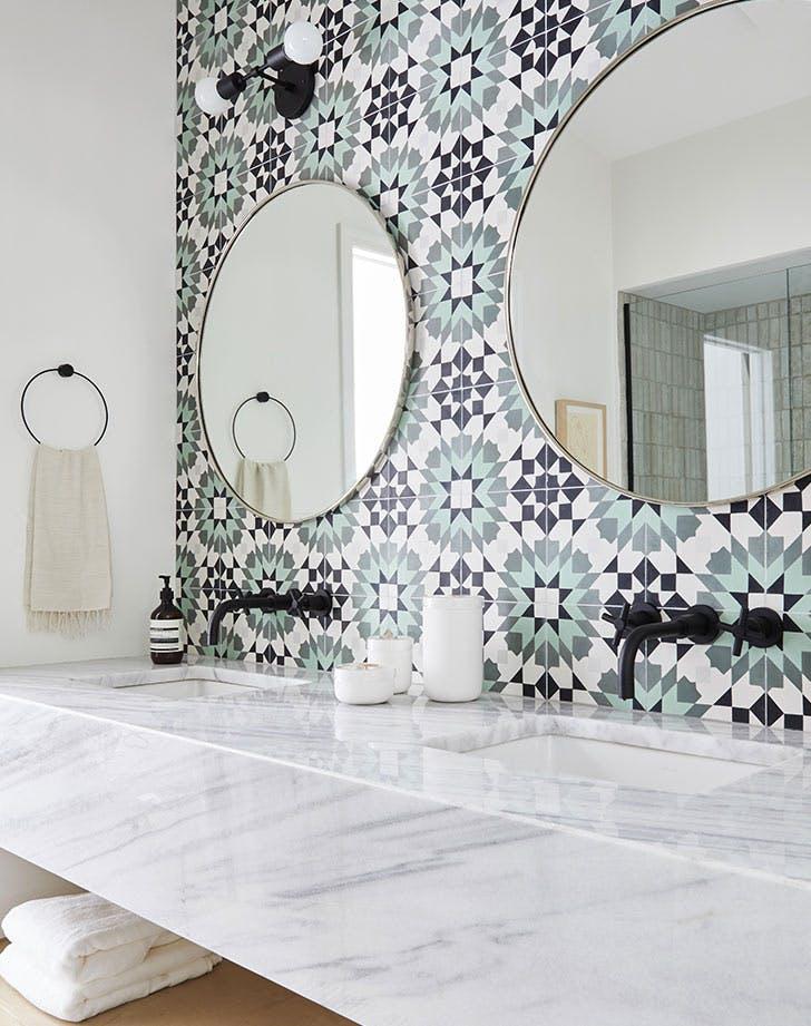 tina rich bathroom blue mirrors