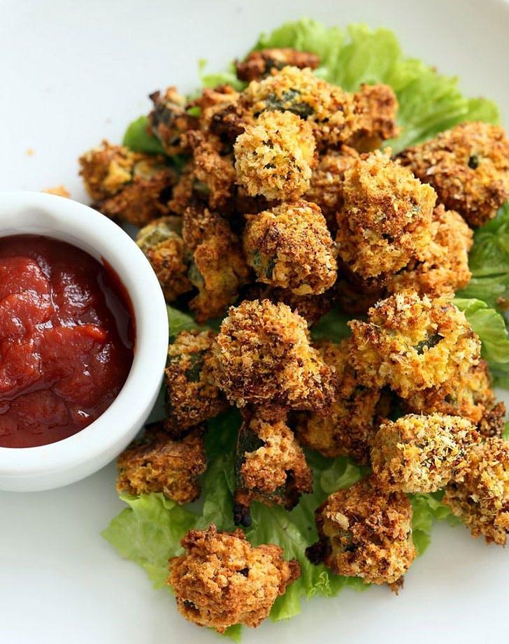 vegan baked popcorn okra recipe