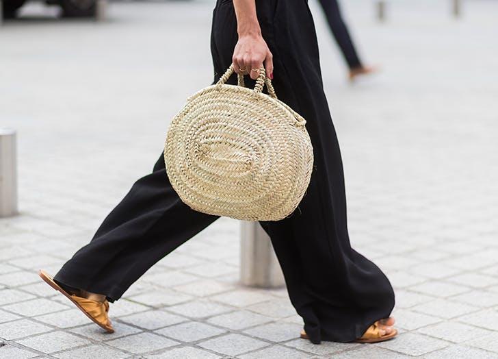 virgo straw tote bag