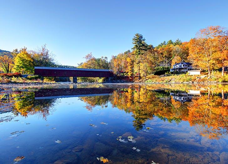 west cornwall bridge new york fall colors