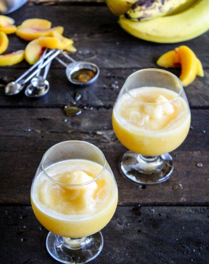 white wine banana peach slushy recipe