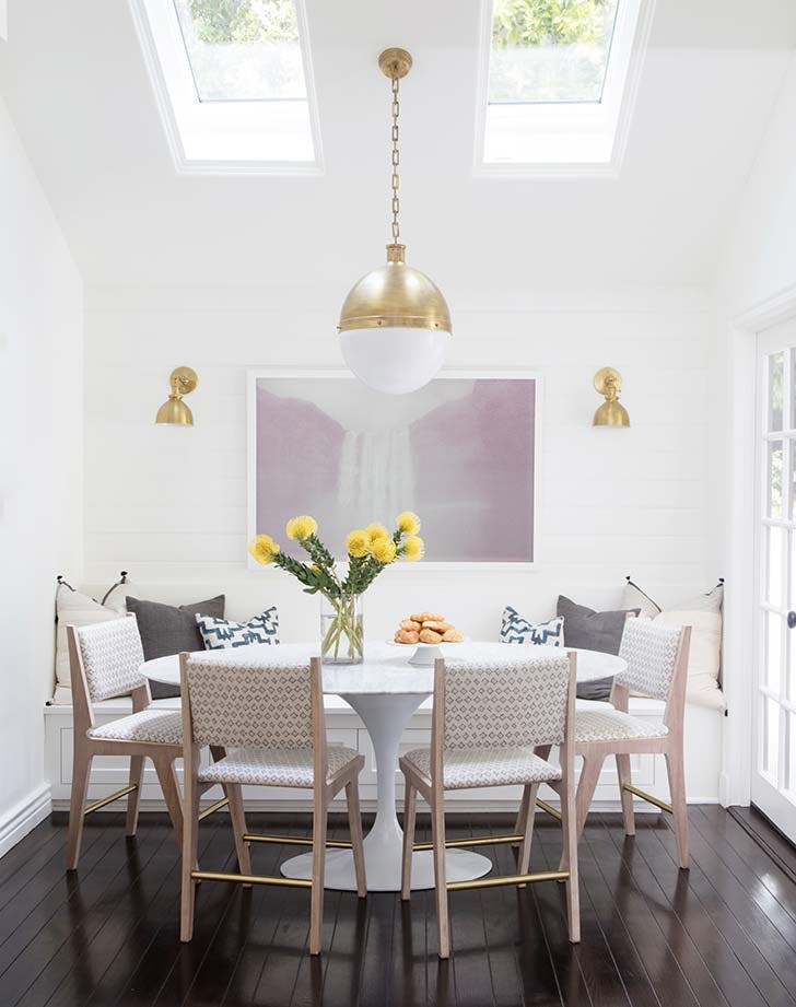 white dining room banquette