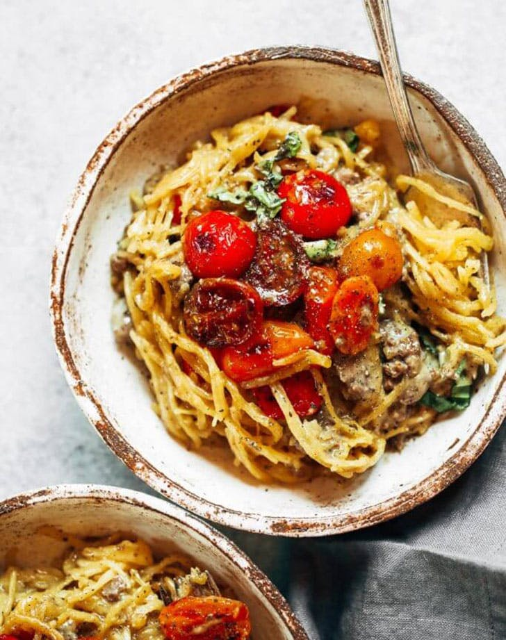 whole30 spaghetti noodles beef tomatoes recipe