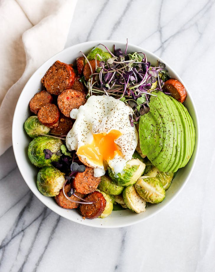 20 minute Chorizo Brussel Sprout Weeknight Dinner Bowl recipe