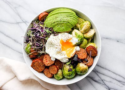 20 minute chorizo and brussels sprouts bowl recipe
