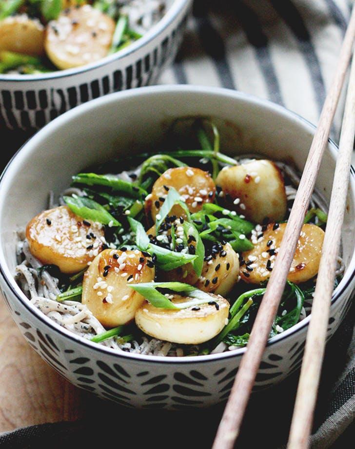 Black Sesame Soba Noodles with Miso Glazed Turnips recipe