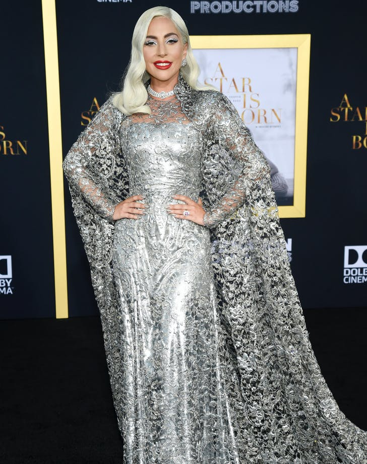 Lady Gaga Givenchy silver gown front1