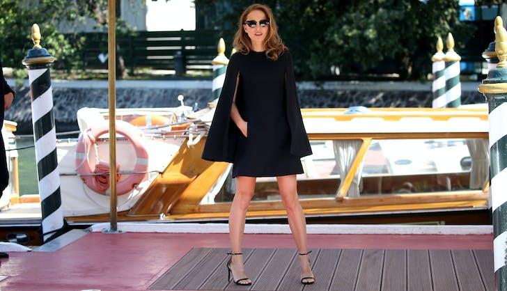 Natalie Portman Black Dior Cape Dress