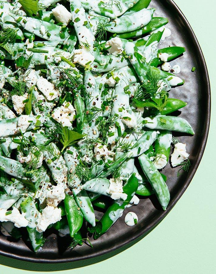 Sugar Snap Pea Salad with Che  768 vre Ranch recipe