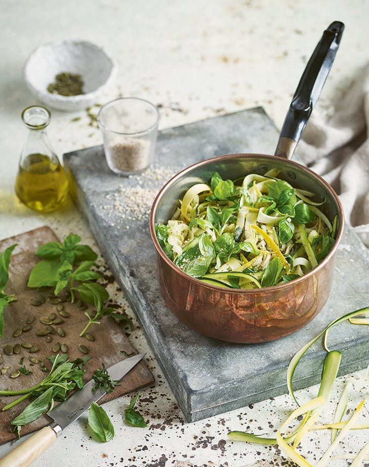 Vegan Pesto Parmesan Spaghetti with Zucchini recipe