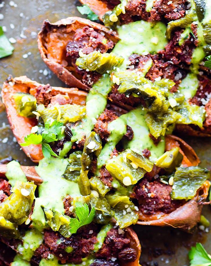 ancho beef chili stuffed sweet potato skins recipe