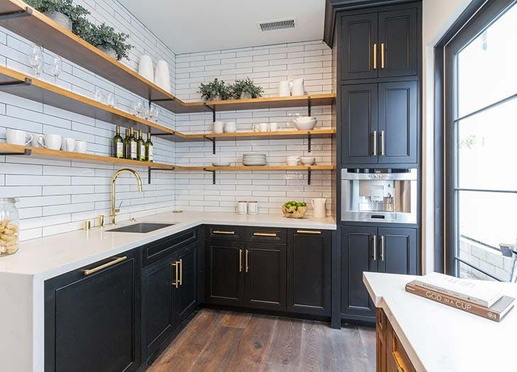 black kitchen open shelves