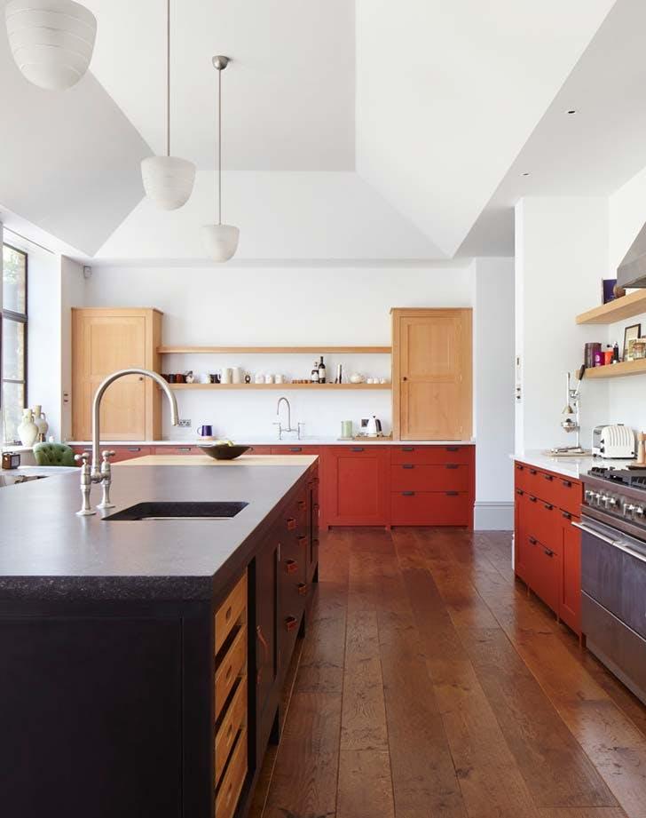 black red kitchen