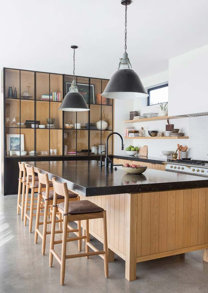 black shelving kitchen