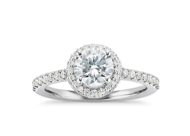 blue nile halo engagement ring