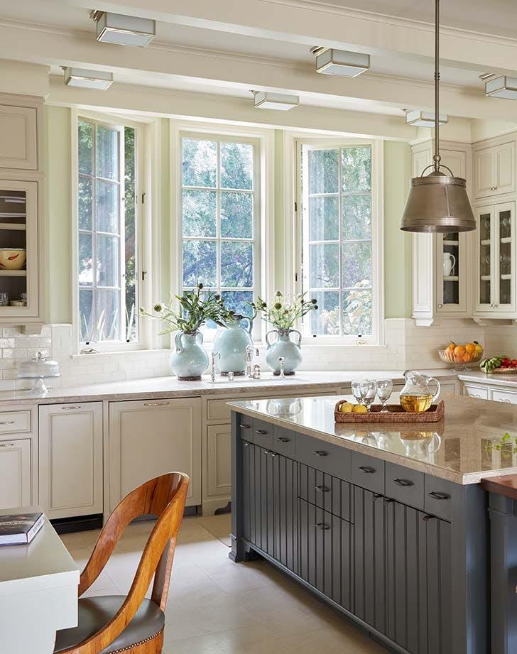 blue cream kitchen