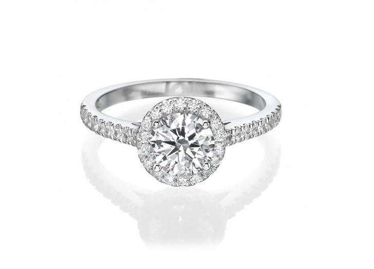 brillianteers halo engagement ring