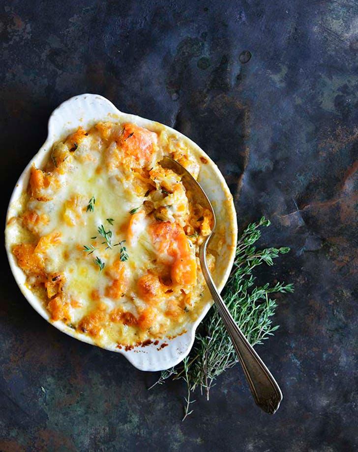 cheddar thyme butternut squash gratin recipe1
