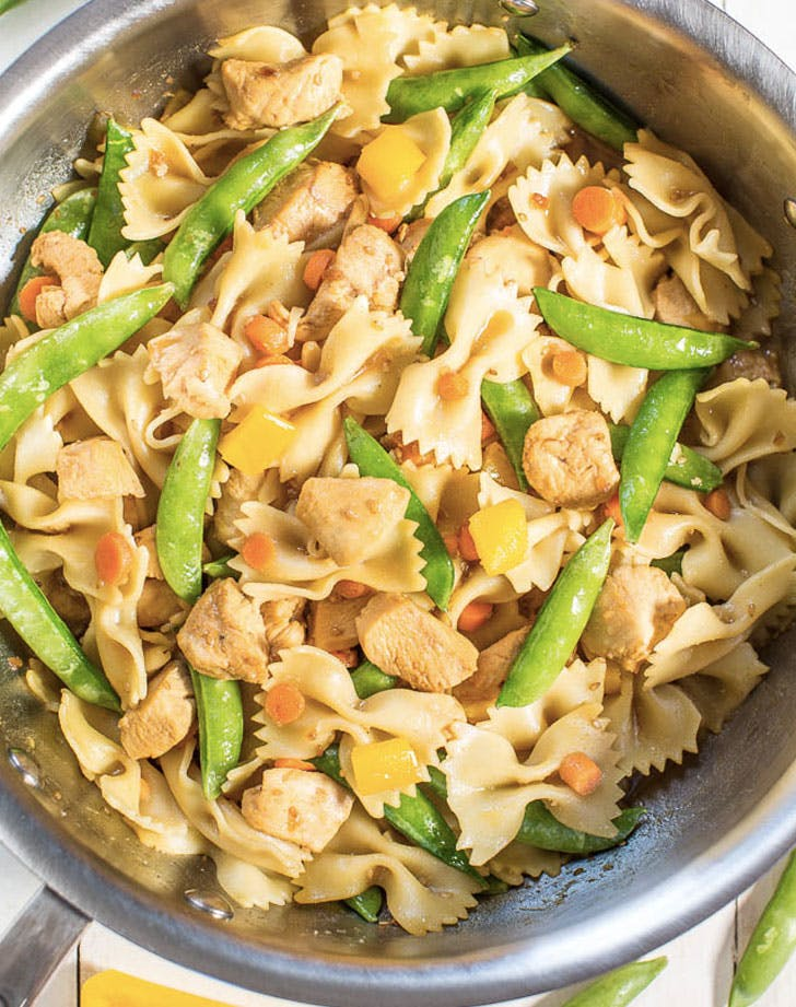 chicken teriyaki and vegetable bowtie pasta recipe