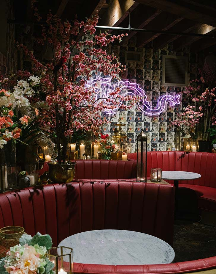 chinese tuxedo peachys flowers red booth