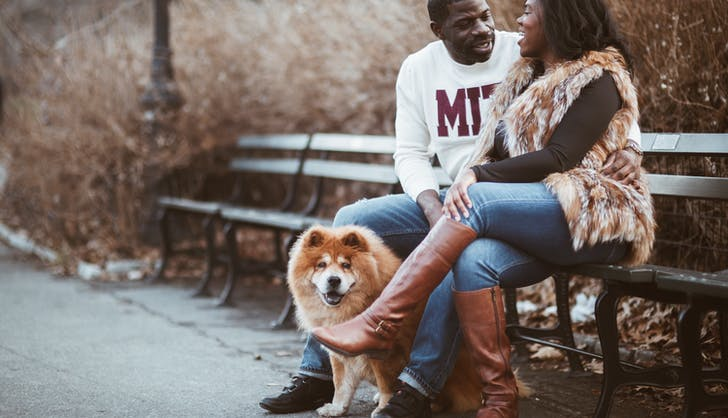 couple sitting on a bench with their dog
