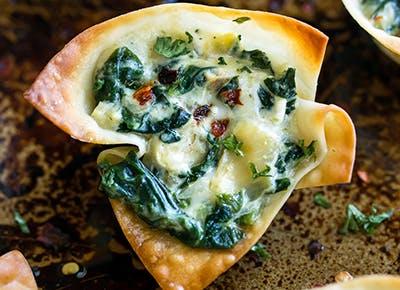 crispy baked spianch artichoke won ton cups recipe 290