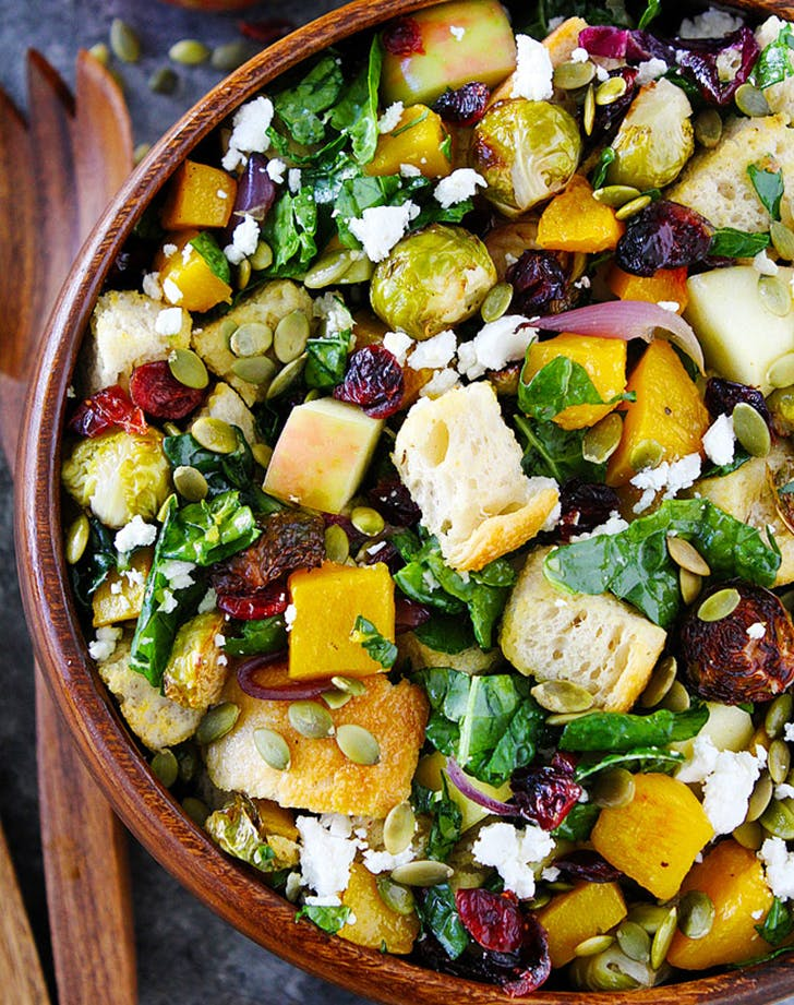 fall brussels sprouts panzanella salad recipe
