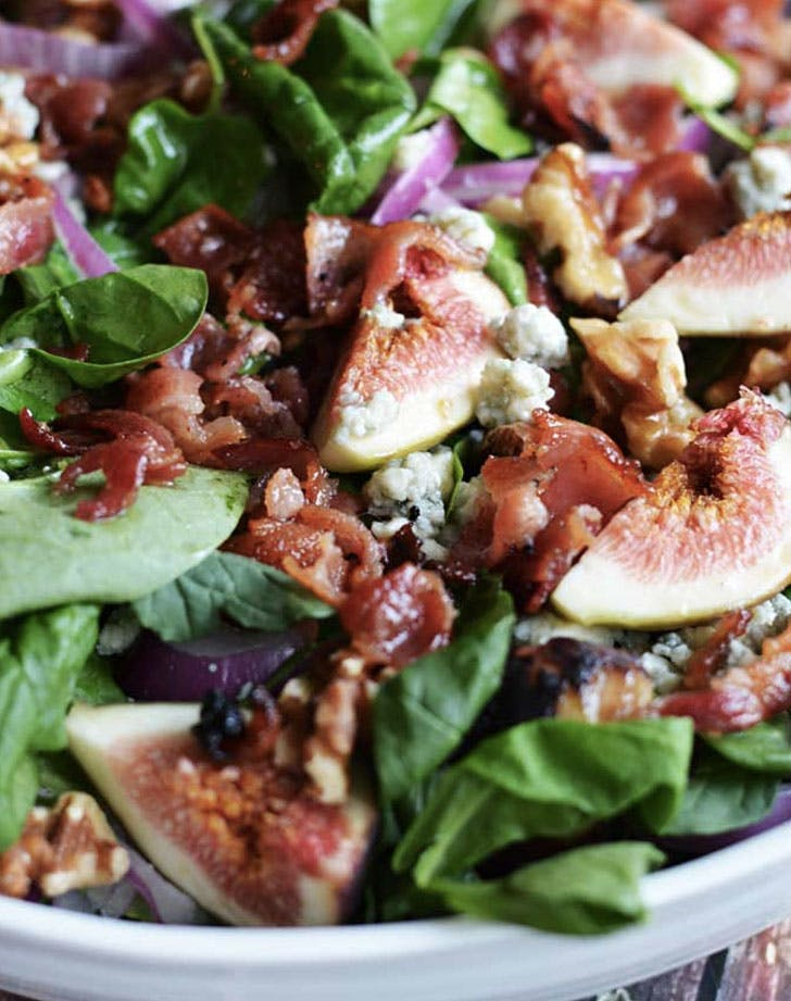 fig blue cheese and walnut salad with warm bacon dressing recipe